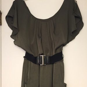 Beautiful olive green dress with belt and pockets
